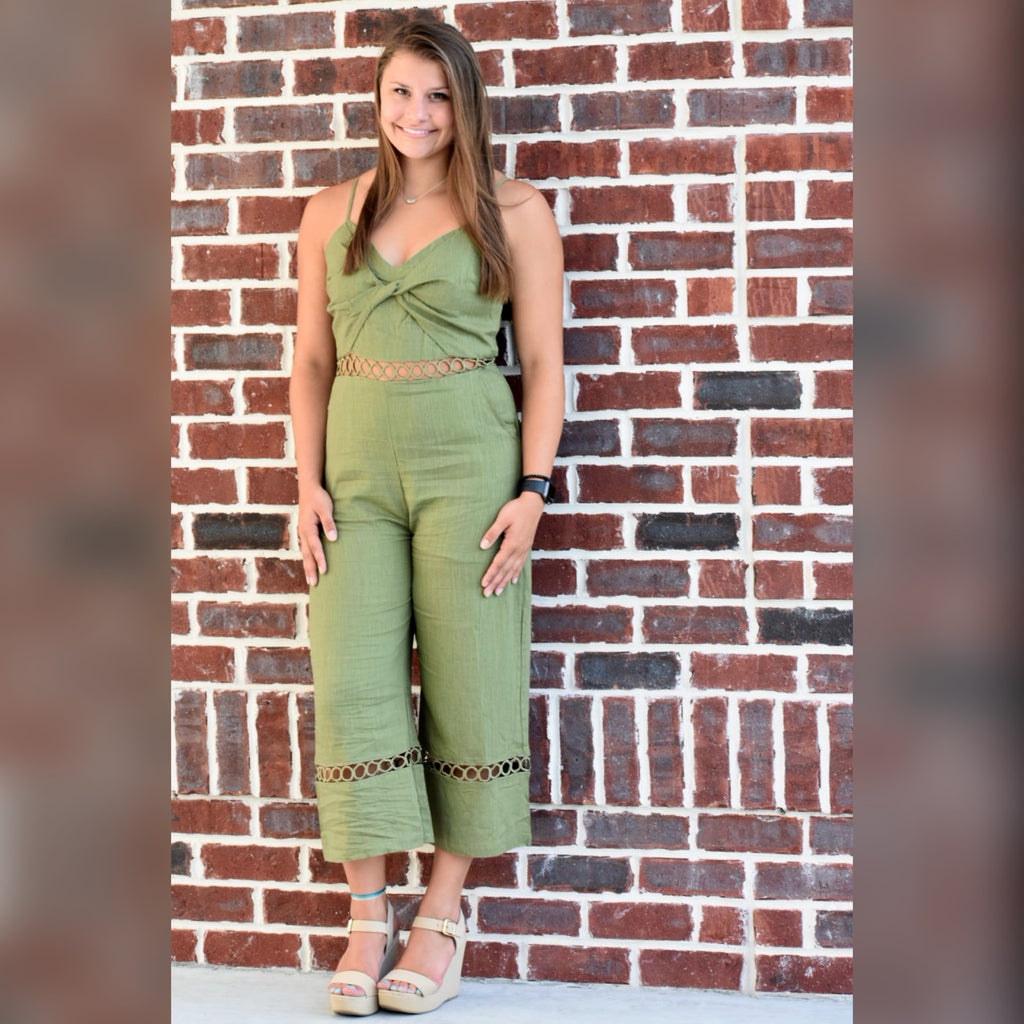 Breaking Hearts Jumpsuit: Olive