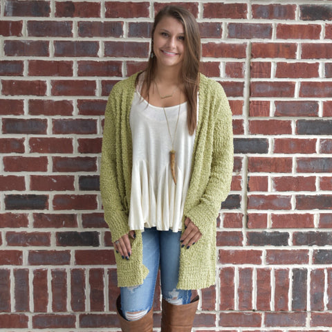 Come & Get it Cardigan: Light Olive
