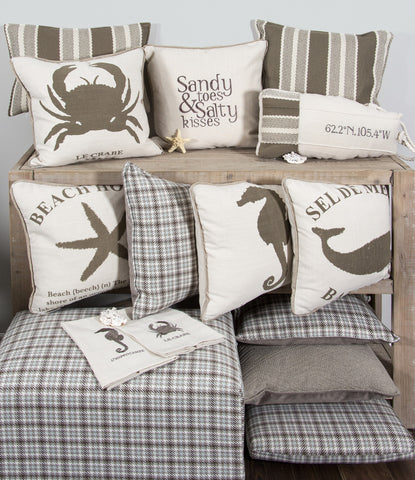 "L642-KISS 18""x18""Sandy Toes and Salty Kisses Embroidered Pillow with Feather Insert part of the Lake House Collection"