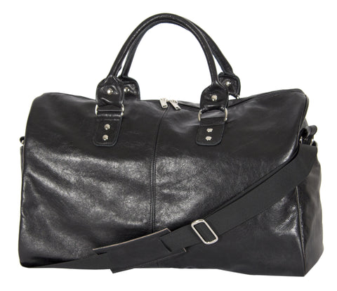 "L1038-13 Borough Bag in an Authentic Old World Black Leather. Part of The On the Tee Vintage Golf Collection and Cosmetic and Travel, Vintage Canadiana, and Totes Collections 18""x12""x8"""