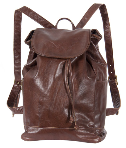 "L1039-12 Backpack in an Authentic Old World Deep Chestnut Brown Leather. Part of The On the Tee Vintage Golf Collection and Cosmetic and Travel, Vintage Canadiana, and Totes Collections 10""x15""x5.5"""