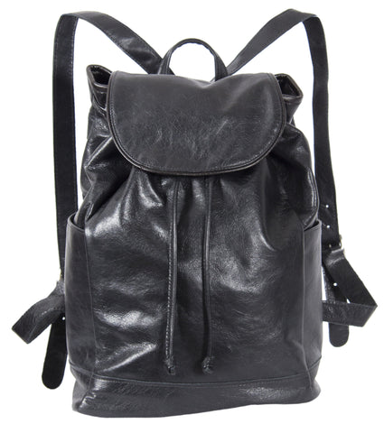 "L1039-13 Backpack in an Authentic Old World Black Leather. Part of The On the Tee Vintage Golf Collection and Cosmetic and Travel, Vintage Canadiana, and Totes Collections 10""x15""x5.5"""