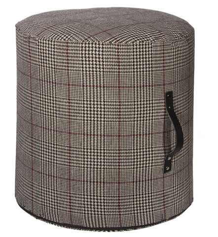Country Style City Chic Cotswold Black Sofisticated Houndstooth Plaid Pattern Round Ottoman with Leather Handles and Nickel Rivet Feature Rigid Foam Insert with Zipper for easy removal for Laundering Proudly Manufactured in Canada