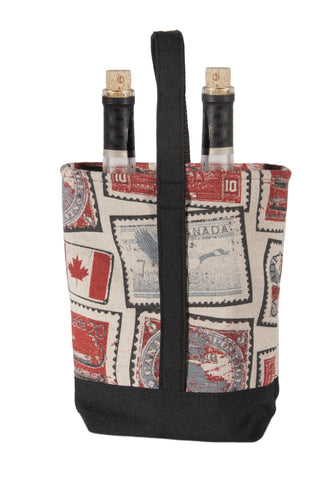 "L1002-STMP 10""x10""x4"" Vintage Stamp Images printed on this Double Wine Bottle Bag lined in a durable water proof Denier Nylon part of The Vintage Canadiana Collection"