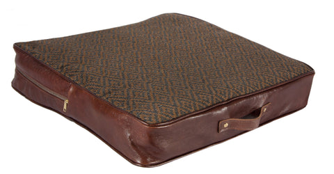 "L1013-3038 18x18x3"" This Rioja Stone Seat Cushion in a Woven Fabric & Authentic Leather Detail, adds to this unique vintage style, part of Unbridled Passion Collection"