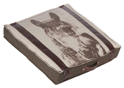 "L1013-HOR 18x18x3"" This Wild Horse Print Seat Cushion w a Woven Fabric & Authentic Leather Detail, adds to this unique vintage style, part of Unbridled Passion Collection"