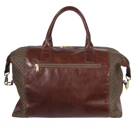 L1014-3038 Duffle Expandable Rioja Stone Spacious Weekender Tote Double Straps and Expandable Sides w Authentic Leather, Lined in a Durable Waterproof Denier Lining Part of  Unbridled Passion & Travel and Cosmetic Bags Collection