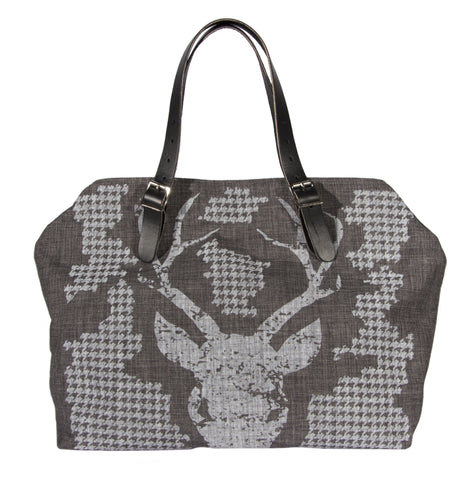 "L1015-BUCK Market Tote 22""x14""x5.5"" with expandable Bridle Leather straps, Designed and Printed on a Textured Fabric with a Buck and Houndstooth on one side, part of the Lady Rosedale Chalkboard Collection"