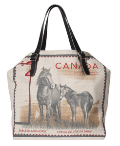 "L1015-SABLE Market Tote 22""x14""x5.5"" with expandable Bridle Leather straps, Printed on a Textured Fabric with the Wild Horses of Sable Island on one side. Part of the Lady Rosedale Unbridled Passion Collection."