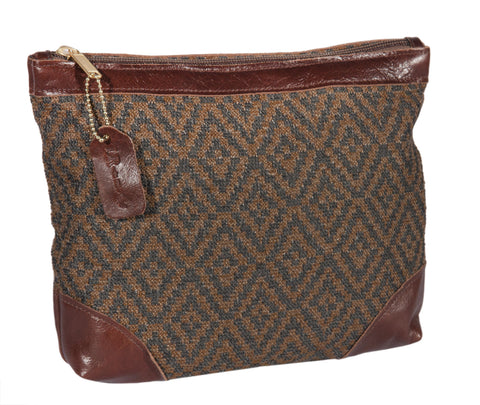 "L1020-3038 11.9""x9.5x2"" This Rioja Stone/Authentic Leather Top Zip Cosmetic and Travel Bag for Cosmetics or Electronic devices, very versatile, part of Unbridled Passion Collection"