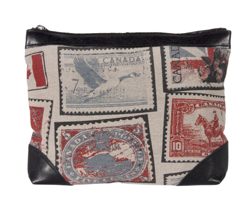 "L1020-STMP Style on the Go 11.9""x9.5x2"" Vintage Stamp Images printed on a Linen Blend for this Top Zip for Cosmetic and Travel Accessories or Electronic devices, very versatile. Functional interior pockets  part of The Vintage Canadiana Collection"