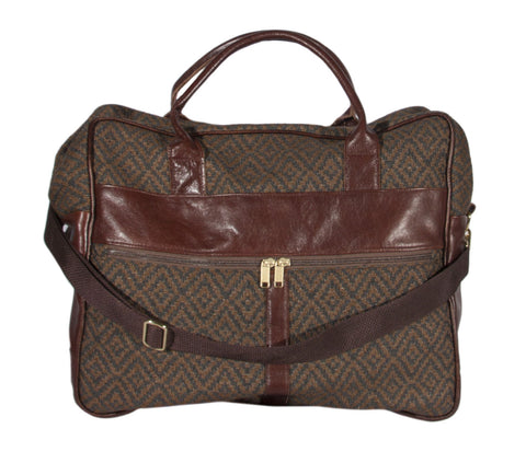 "L1023-3038 Grande Cargo Rioja Stone trimmed w Authentic Leather. Spacious Weekender Tote Double Straps and Adjustable Shoulder Strap. Part of the Unbridled Passion, Travel and Cosmetic Bags Collection 16""x16""x8"""
