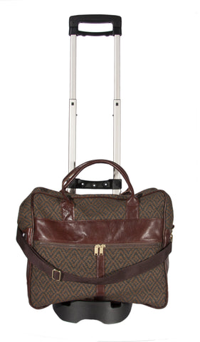 "L1023B-3038 Grande Cargo Rioja Stone w Trolley Cart trimmed w Authentic Leather. Spacious Weekender Tote Double Straps and Adjustable Shoulder Strap. Part of the Unbridled Passion, Travel and Cosmetic Bags Collection 16""x16""x8"""