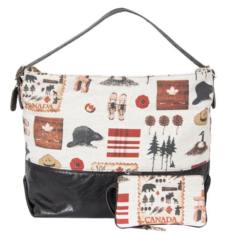 "L1024-NRTH Day Tote Traveller Relaxed Every Day Tote with Structured Leather Base and Adjustable Bridle Leather Shoulder Strap Part of the Vintage Canadiana, Cosmetic and Travel Collections 21""x14""x8"""