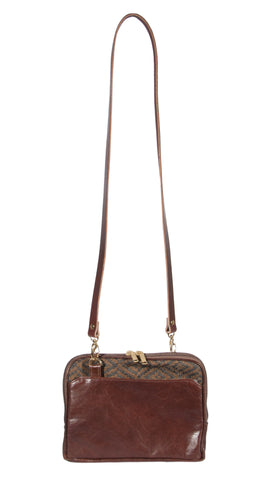 "L1029-3038 Small Crossbody Tote Rioja Stone, Structured Leather Base and Adjustable Bridle Leather Shoulder Strap Part of the Unbridled Passion, Cosmetic and Travel Collection 9""x8""x1.5"""