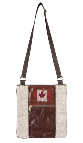 "L1030-CANA Medium Crossbody 11""x11.5""x1"" w Authentic Leather, The Vintage Canada Flag Image Embroidered Leather, part of the Lady Rosedale Vintage Canadiana Collection"