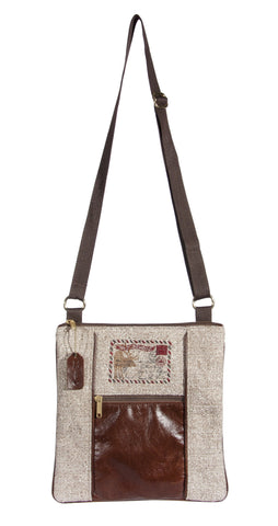 "This L1030-POST Medium Crossbody 11""x11.5""x1"" w Authentic Leather, The Postcard Image Embroidered on the Textured Fabric, part of the Lady Rosedale Vintage Canadiana Collection"