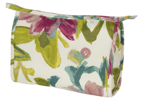 "L151-3127 Medium Cosmetic Bag 10""x7x3"" This White Tea Top Zip Cosmetic with Inside Pocket is part of Cosmetic and Travel Accessories Collection Lined in a Durable Waterproof Denier Lining."