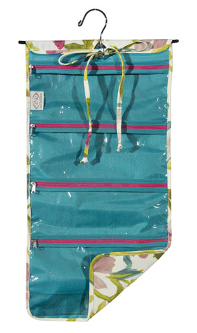 "L153-3127 Hanging Cosmetic White Tea, Comes with Metal Hanger, multiple Zippered Pockets, bottom expandable Pocket, Rolls and ties for easy travelling and to keep everything contained. Part of the Cosmetic and Travel Collection 12""x24"""