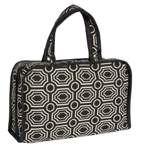 "L167-1423 Pull Apart Large Cosmetic Bag 12""x8x4"" This Bradstreet Ebony Double Handles with Snaps pulls apart to give you lots of Compartments inside for large Bottles of shampoo, toiletries and more is part of Cosmetic and Travel Accessories Collection"