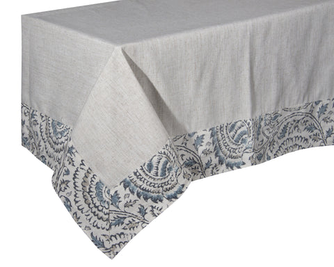 "L660-3135 60x60"" Tablecloth In The Welcome Home Collection Border in Anala Mist"