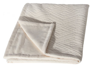 "L620-3142-Naveen Cream 46""x59"" Textured Sweater Like fabric on this Cozy Throw reverses to solid Coordinate Flanged edge part of The Vintage Canadiana Collection and coordinates with Welcome Home, Elements, Home Trends and Comforts, All made in Canada"