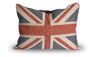 "L626-1355 Union Jack 13""x17"" Pillow Knife Edge with Zipper Feather Insert reverse to solid Zips off for easy Laundering Part of Home Trends and Comforts Collection"