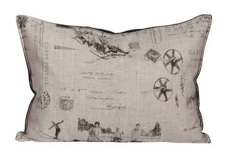 "L626-1803 Country Style City Chic Pillow 14""x20"" Feather Filled with Zipper Flanged with Scenes D'antan Vintage Skiers on Linen Proudly Manufactured in Canada"