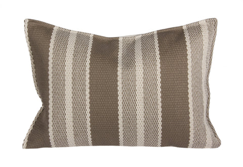 "L626-2001 14""x20"" Frivolous Latte Heavy Striped Pillow reverse to Solid with Feather Insert part of the Lake House Collection, Zipper Closure for easy removal of Insert for Laundering"