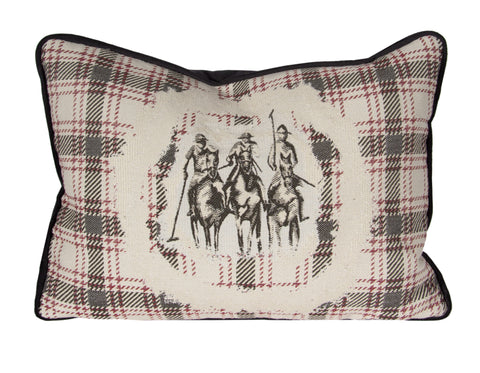 "Country Style City Chic Giddy Up Sophisticated Riders with a Flat Piped Edge on a 14""x20"" Pillow with Feather Insert with Zipper for easy removal for Laundering Proudly Manufactured in Canada"