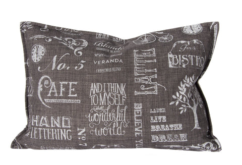 "L626-Chalk 14""x20"" Pillow Printed Chalk White on Grey with a Feather Insert for The Chalkboard Collection"