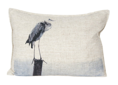 L626-ELEM Pillow 14x20 Blue Heron Printed Pillow with Feather Insert