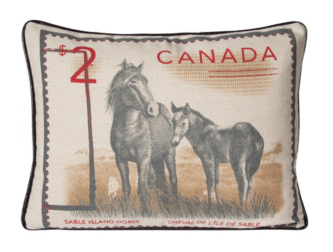"L626-SABLE 14""x20"" Pillow Printed on a Linen Blend Fabric with the Wild Horses of Sable Island on one side. Part of the Lady Rosedale Unbridled Passion Collection."