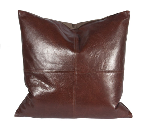 "L642-12 18""x18"" This Authentic Brown Leather Pillow in a quarter Stitch , adds to this unique vintage style, part of Unbridled Passion Collection"