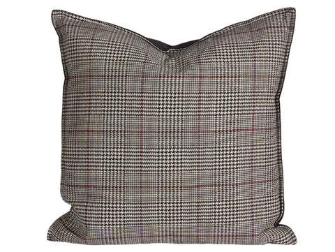 "Country Style City Chic Cotswold Black Sofisticated Houndstooth Plaid Pattern Pillow 20""x20"" Flanged with Feather Insert and Zipper for easy removal for Laundering Proudly Manufactured in Canada"