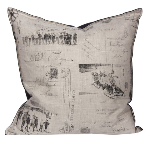 "L643-1803 Country Style City Chic Pillow 20""x20"" Feather Filled with Zipper Flanged with Scenes D'antan Vintage Skiers on a beautiful Nuetral Linen Proudly Manufactured in Canada"