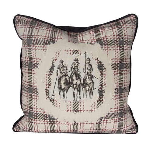 "Country Style City Chic Giddy Up Sophisticated Riders with a Flat Piped Edge on a 20""x20"" Pillow with Feather Insert with Zipper for easy removal for Laundering Proudly Manufactured in Canada"
