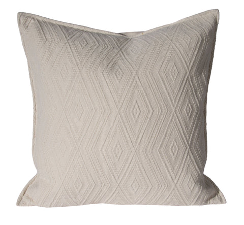 "L643-3142-Naveen Cream 20""x20"" Textured Sweater Like fabric this Pillow reverses to a solid Coordinate, Flanged edge part of The Vintage Canadiana Collection and coordinates with Welcome Home, Elements, Home Trends and Comforts, All made in Canada"