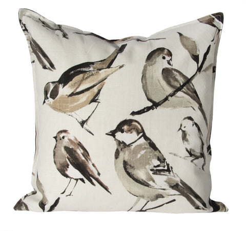 "L643-3187 Pillow 20""x20"" Birdwatcher Charcoal Feather Filled part of The Home Trends and Comforts Collection"