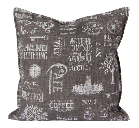 "L643-Chalk 20""x20"" Chalkboard Pillow with Feather Insert"