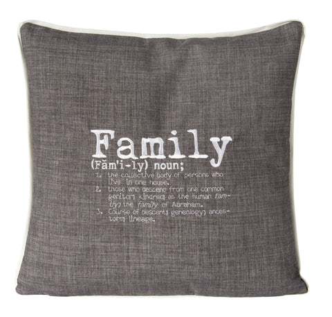 "L643-FMLY 20""x20"" Family Embroidered Font Flat Piped edge Chalkboard Pillow with Feather Insert part of the Lady Rosedale Chalkboard Collection"