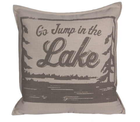 "L643-Jump 20x20"" Pillow Feather Filled in Our Lake House Collection Go Jump in the Lake"