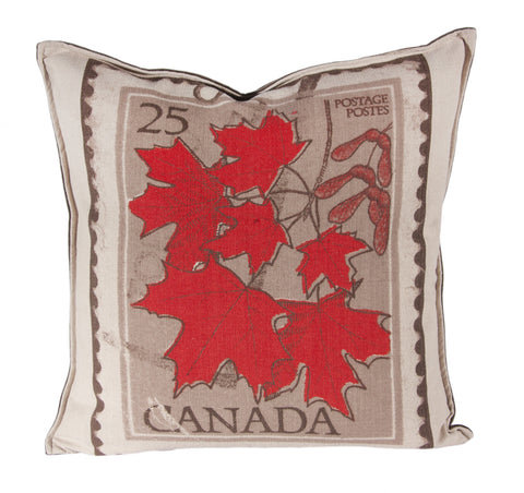 "L643-LEAF 20""x20"" Canada Leaf Image printed on this Pillow reverse to solid Coordinate with Feather Insert and Flanged edge part of The Vintage Canadiana Collection"