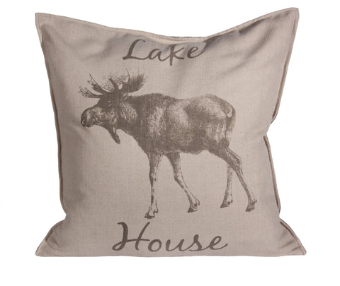 "L643-LHSE 20x20 ""Pillow with a Feather Insert and a Coordinating Ticking Stripe on the Reverse part of The Lake House Collection"
