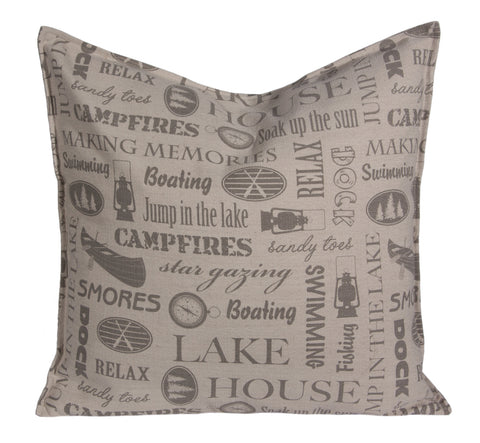 "L643-MEM 20x20"" Pillow with a Feather Insert and a Coordinating Ticking Stripe on the Reverse for the Lake House Collection"