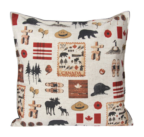"L643-NORTH 20""x20"" We The North Pillow with Feather Insert and Flanged edge part of The Vintage Canadiana Collection"