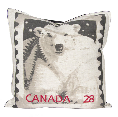"L643-POLAR 20""x20"" Pillow with Feather Insert Polar Bear Stamp with Flanged edge part of The Vintage Canadiana Collection"