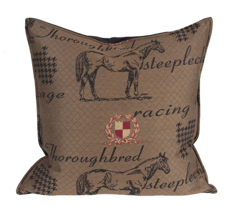 "L647-3040 22""x22"" Thoroughbred Pillow in a Woven Fabric w Horse and Crest Images, reverse to solid, Feather Insert, zips off for laundering, part of The Unbridled Passion Collection"