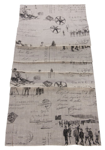 "L664R-1803 Country Style City Chic Table Runner 13""x72"" with Scenes D'antan Vintage Skiers on a beautiful Nuetral Linen Proudly Manufactured in Canada"