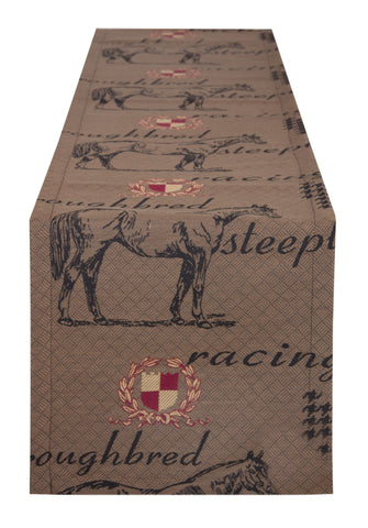 "L664R-3040 13""x72"" Thoroughbred Table Runner in a Woven Fabric w Horse and Crest Images, part of The Unbridled Passion Collection"